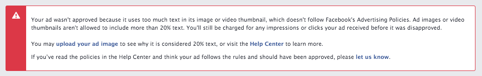 Facebook Ad Disapproved Screenshot